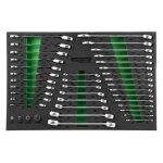 Ложемент ключи комбинированные с трещоткой, ключи разрезные и адаптеры, 39 предметов, Jonnesway W60246139SV