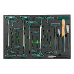 Ложемент ключи торцевые Hex и Torx, молотки и зубила, 21 предмет, Jonnesway H10121SV